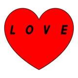 Le coeur rouge pour le jour des femmes avec le chemin noir et noircissent une légende Images libres de droits