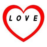 Le coeur rouge pour le jour des femmes avec le chemin rouge et le blanc remplissent inscription noire Images stock