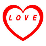Le coeur rouge pour le jour des femmes avec le chemin rouge et le blanc remplissent inscription rouge Photographie stock