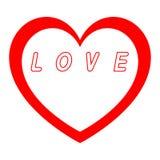 Le coeur rouge pour le jour des femmes avec le chemin rouge et le blanc remplissent inscription rouge de chemin Image stock