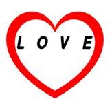 Le coeur rouge pour le jour des femmes avec le chemin rouge et le blanc remplissent légende noire Images libres de droits