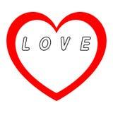 Le coeur rouge pour le jour des femmes avec le chemin rouge et le blanc remplissent légende noire de chemin Photo stock