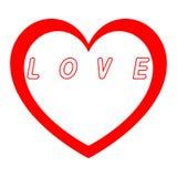 Le coeur rouge pour le jour des femmes avec le chemin rouge et le blanc remplissent légende rouge de chemin Photo libre de droits