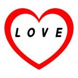 Le coeur rouge pour le jour des femmes avec le chemin rouge et le blanc remplissent signature noire Images stock