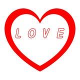 Le coeur rouge pour le jour des femmes avec le chemin rouge et le blanc remplissent signature rouge de chemin Image libre de droits