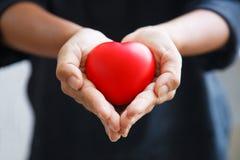 Le coeur rouge tenu par les deux mains de la femelle, représentent des coups de main, s'inquiétant, amour, sympathie, condoléance photos libres de droits