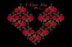 Le coeur s'est rassemblé d'un bouquet des roses rouges Photos libres de droits