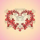 Le coeur se compose des coeurs dans le style de zentangle Photos stock