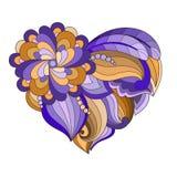 Le coeur tiré avec des fleurs et des plantes pour le jour ou les mariages du ` s de Valentine Photos libres de droits