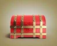 Le coffre rouge 3d vide rendent sur le fond de gradient Photographie stock libre de droits