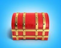 Le coffre rouge 3d vide rendent sur le fond de gradient Photos libres de droits