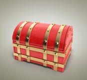 Le coffre rouge 3d vide rendent sur le fond de gradient illustration libre de droits