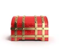 Le coffre rouge 3d vide rendent sur un fond blanc Photo stock