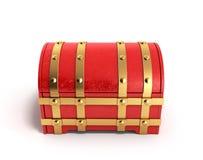 Le coffre rouge 3d vide rendent sur un fond blanc Photographie stock libre de droits
