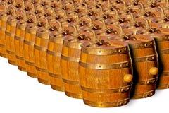 Le cognac dans le chêne Barrels la cave image libre de droits