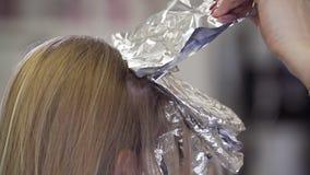 Le coiffeur de styliste fait la coloration de cheveux Coloration et soins capillaires professionnels banque de vidéos