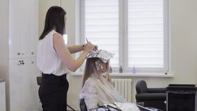 Le coiffeur fait la coloration de cheveux Coiffeur appliquant le colorant de coloration de cheveux clips vidéos
