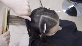 Le coiffeur fait la stratification et les cheveux se redressant dans un salon de beauté pour une fille avec les cheveux bruns Con clips vidéos