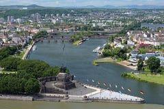 Le coin allemand à Koblenz, Allemagne photos libres de droits
