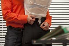 Le collègue catched dans l'acte Images libres de droits