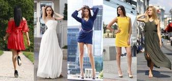 Le collage de cinq beaux modèles en été coloré s'habille Photos stock
