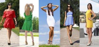 Le collage de cinq beaux modèles en été coloré s'habille Photo libre de droits
