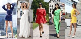 Le collage de cinq beaux modèles en été coloré s'habille Image libre de droits