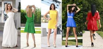 Le collage de cinq beaux modèles en été coloré s'habille Photographie stock