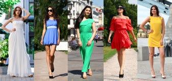 Le collage de cinq beaux modèles en été coloré s'habille Photo stock