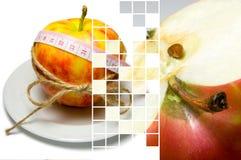 Le collage de l'entourage de pomme de la bande de mesure a attaché avec la ficelle a Images stock