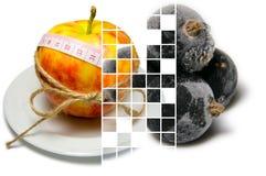 Le collage de l'entourage de pomme de la bande de mesure a attaché avec la ficelle a Photos libres de droits