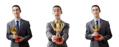 Le collage de l'homme d'affaires recevant la récompense Images stock