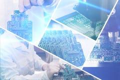 Le collage de l'ordinateur embarque avec des effets visuels en style futuriste Le concept des technologies modernes et futures photos stock