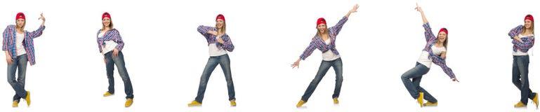 Le collage de la danse de femme d'isolement sur le blanc Images libres de droits