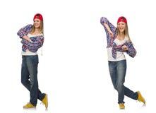 Le collage de la danse de femme d'isolement sur le blanc Photographie stock
