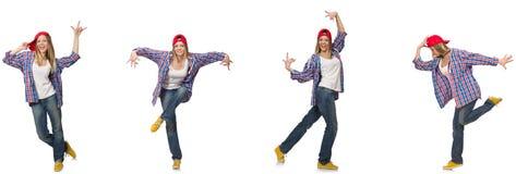 Le collage de la danse de femme d'isolement sur le blanc Photographie stock libre de droits