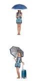 Le collage de la femme avec le parapluie et la valise Photo libre de droits