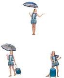 Le collage de la femme avec le parapluie et la valise Photographie stock libre de droits