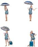 Le collage de la femme avec le parapluie et la valise Photo stock