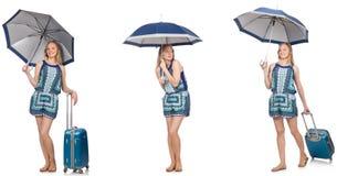 Le collage de la femme avec le parapluie et la valise Photos stock