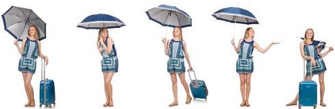 Le collage de la femme avec le parapluie et la valise Photos libres de droits
