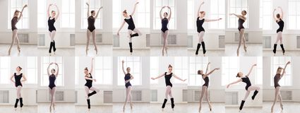 Le collage de la jeune ballerine se tenant dans le ballet pose photos stock