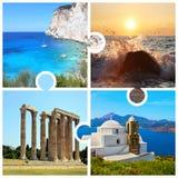 Le collage de photo dans le puzzle rapièce avec les photos grecques photographie stock