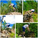 Le collage de quatre photos font du vélo des tours extrêmes image stock