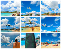 Le collage des images de plage de Maho Bay Photo stock