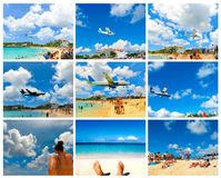 Le collage des images de plage de Maho Bay Photographie stock