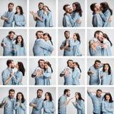 Le collage des images des couples sur le fond gris Photographie stock
