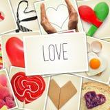 Le collage des instantanés des coeurs et la chose en forme de coeur ont tiré par mon Image stock