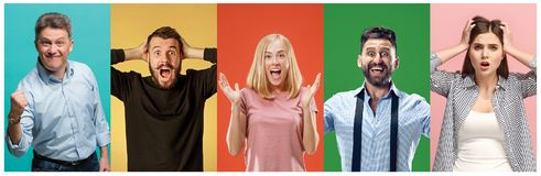 Le collage des personnes étonnées photo libre de droits