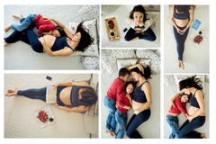 Le collage des photos de la jeune mère enceinte vbautiful andchildren Photographie stock